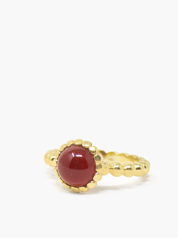 Beady Stacking Carnelian Ring