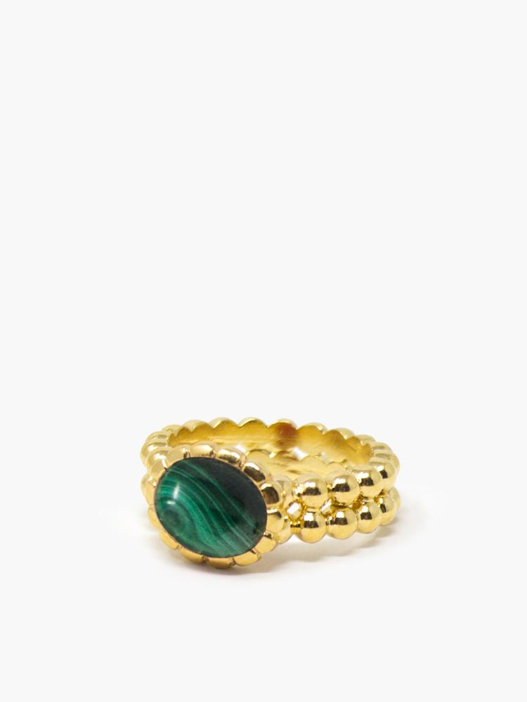 Gold-plated Malachite Beady Band Ring by Vintouch Jewels