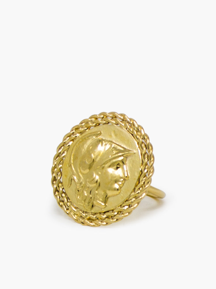 Athena gold-plated Treccia ring by Vintouch Jewels.