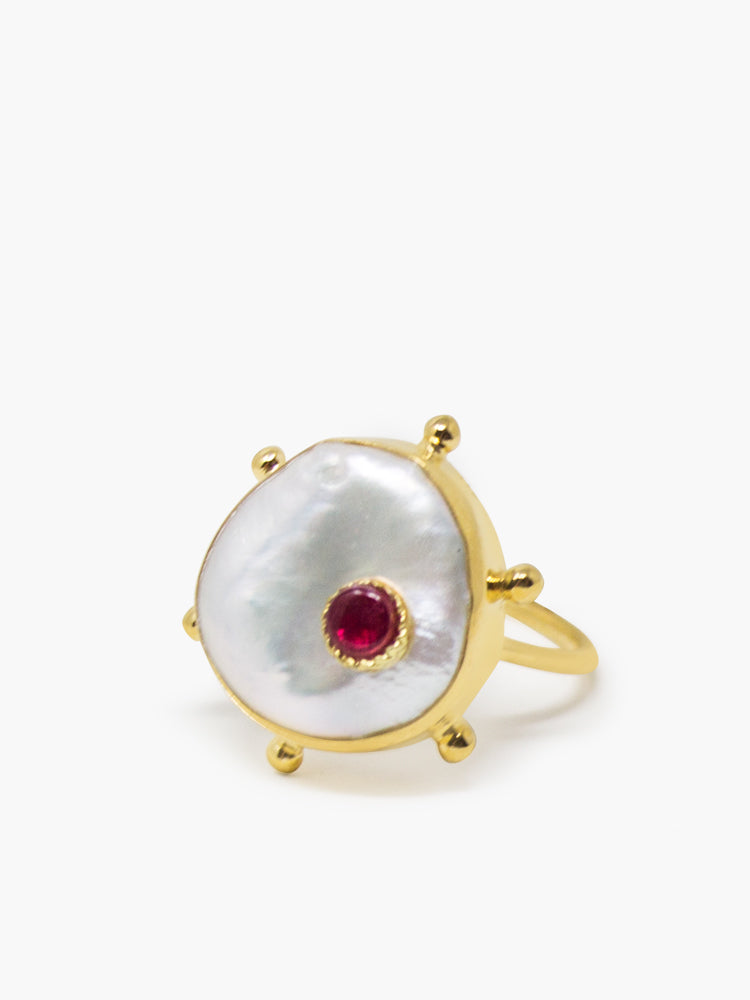 Vintouch's Rebel Rebel Keshi Pearl and Pik Ruby Stacking Ring