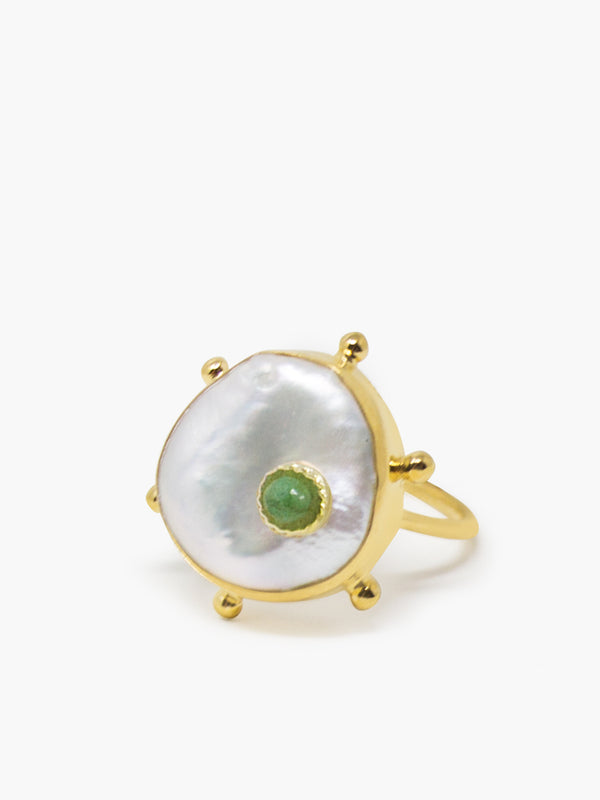 Rebel Rebel Green Emerald & Keshi Pearl Stacking Ring by Vintouch Jewels.