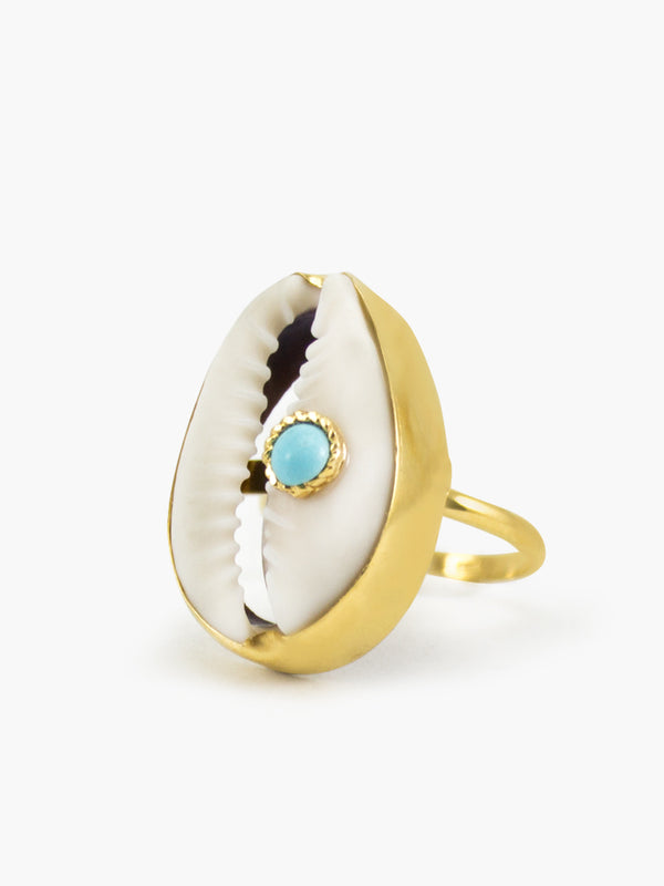 Turquoise & Cowrie Shell Ring | Vintouch Jewels
