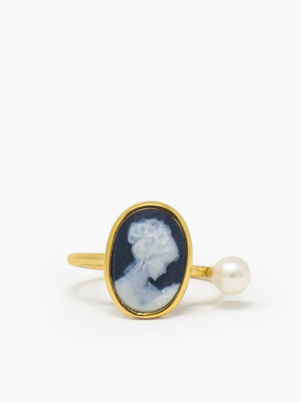 Mini Cameo Ring featuring a pearl, cast from 18k gold over silver.