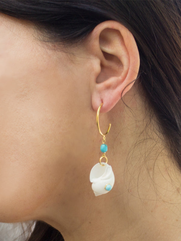 Nassau Shell & Turquoise Hoop Earrings
