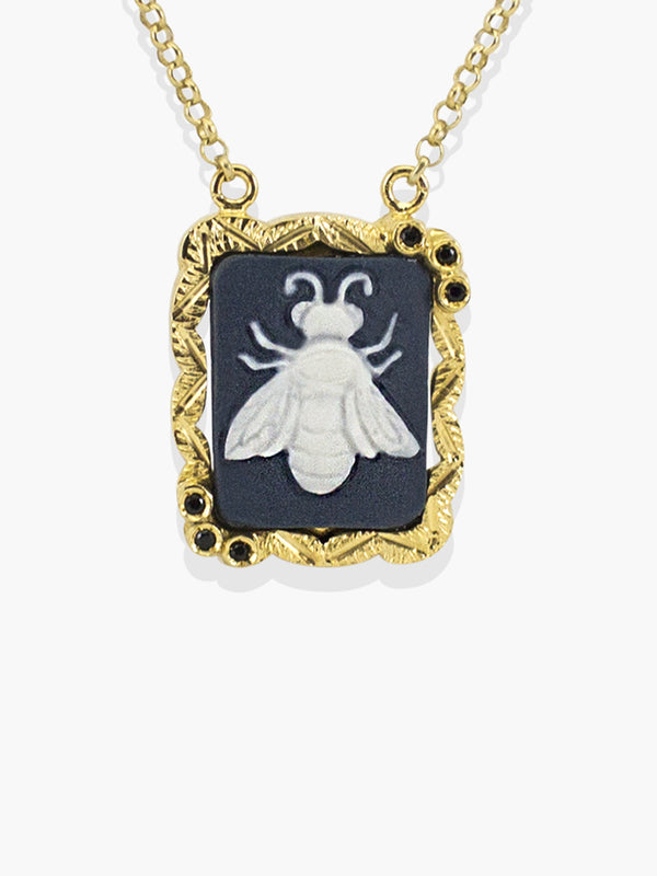 Gold Bee Cameo Necklace | Vintouch Jewels
