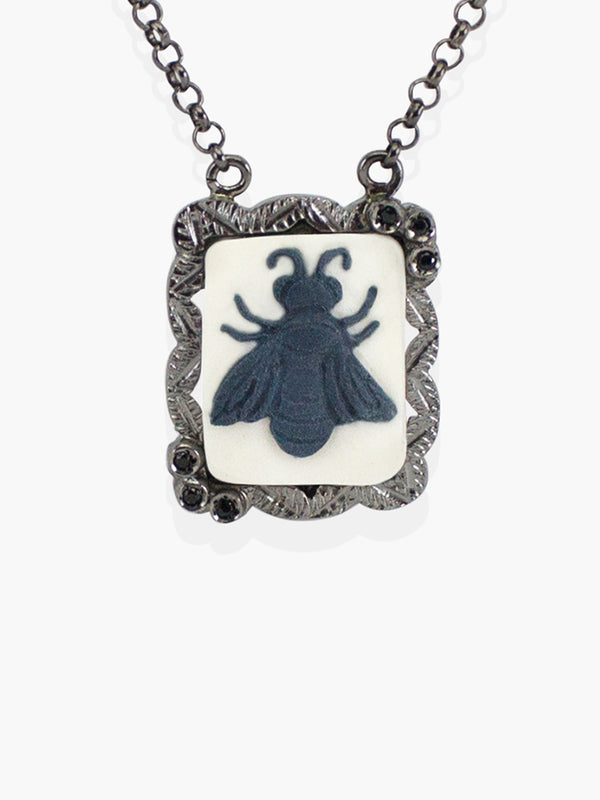 Gunmetal Bee Cameo Necklace | Vintouch Jewels
