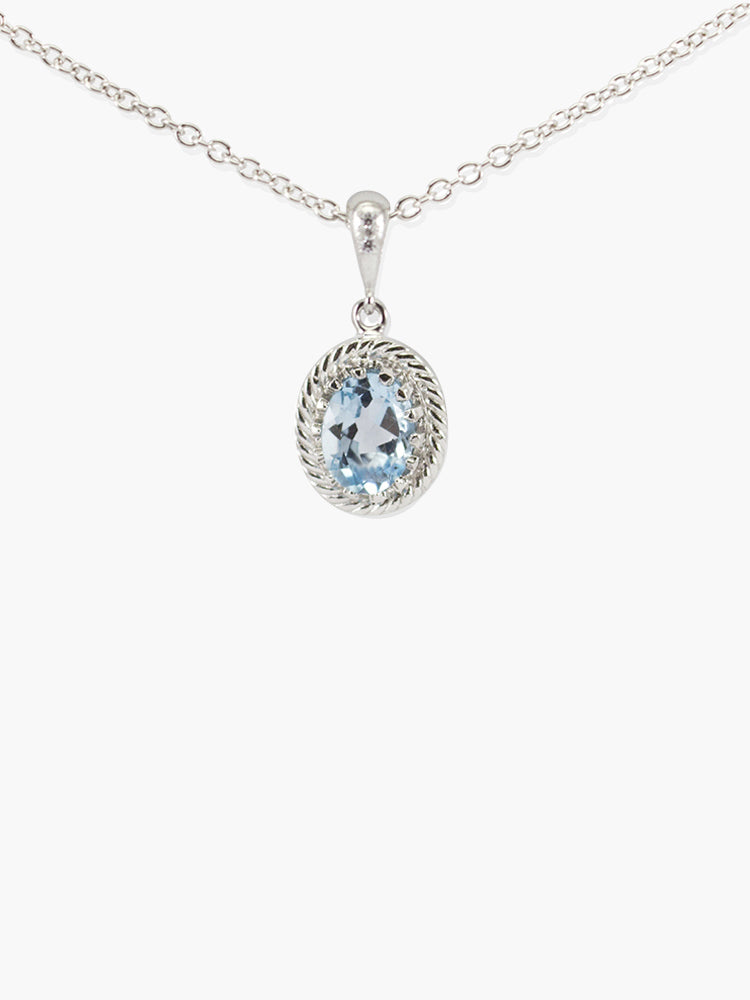 Sky Blue Topaz Pendant Necklace by Vintouch Jewels.