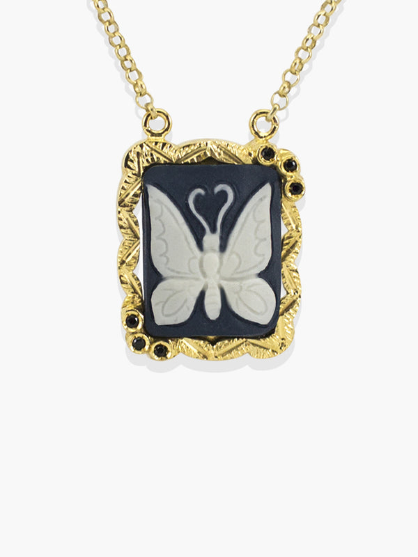 Gold Chrysalis Cameo Necklace | Vintouch Jewels