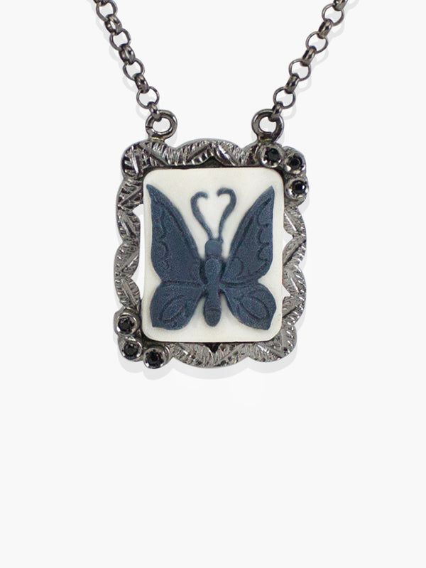 Gunmetal Chrysalis Cameo Necklace | Vintouch Jewels