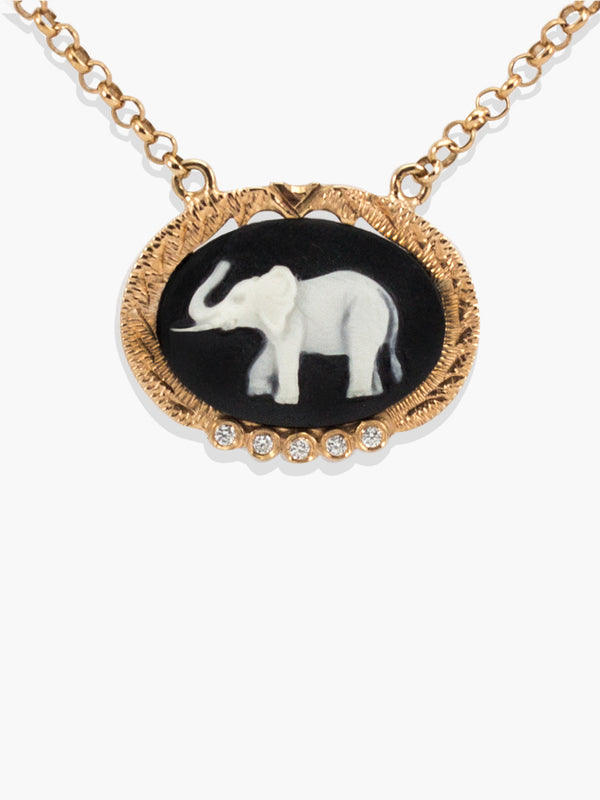 Elephant Cameo Necklace set with white diamonds | Vintouch Jewels