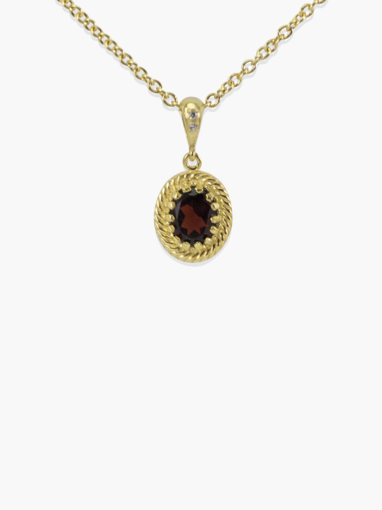 Garnet Pendant Necklace by Vintouch Jewels, handset in 18k gold plated silver. Chain measures 18 inches.