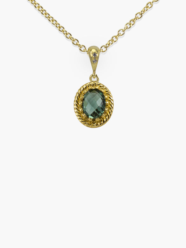 Green Agate Pendant Necklace by Vintouch Jewels. Delicately handmade from 18k gold over sterling silver. Chain measures 18 inches. Green agate gemstone measures 9x7 mm.