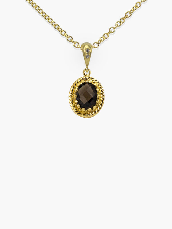 Smoky Quartz Pendant Necklace by Vintouch Jewels. Handmade in 18k gold over sterling silver, featuring an oval dainty 9x7mm. smoky quartz gemstone.