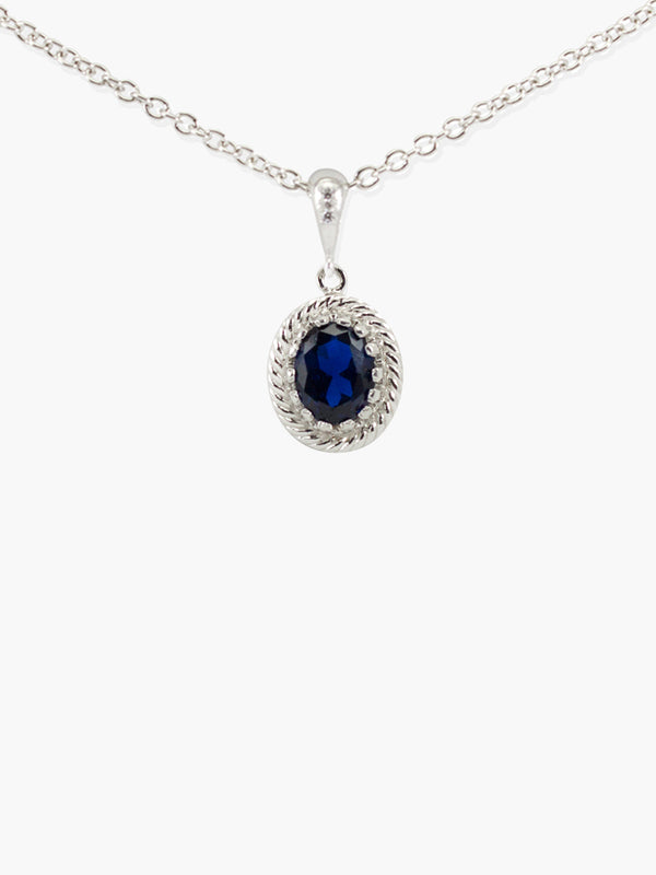 Blue Agate Pendant Necklace by Vintouch Jewels, handmade from 925 sterling silver featuring an oval 9x7 mm. blue agate gemstone.