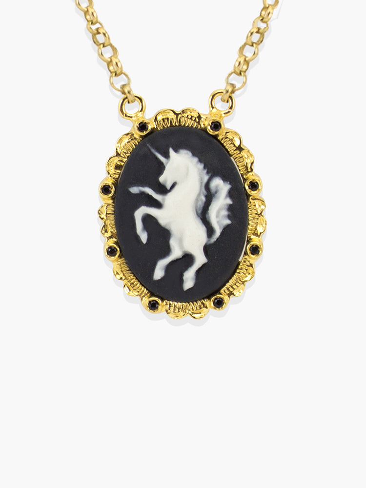 Gold Unicorn Cameo Necklace | Vintouch Jewels