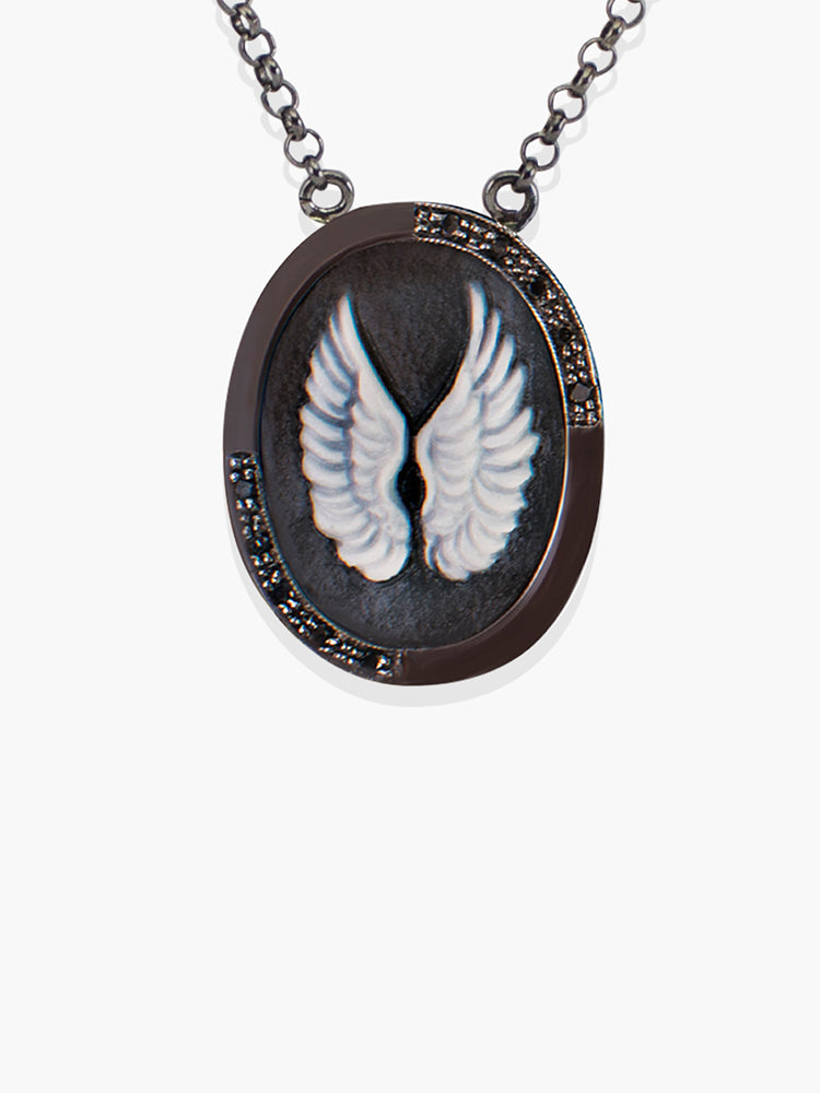 Wings Cameo Necklace set in gunmetal sterling silver embellished with 0.10 carats black diamonds by Vintouch Jewels