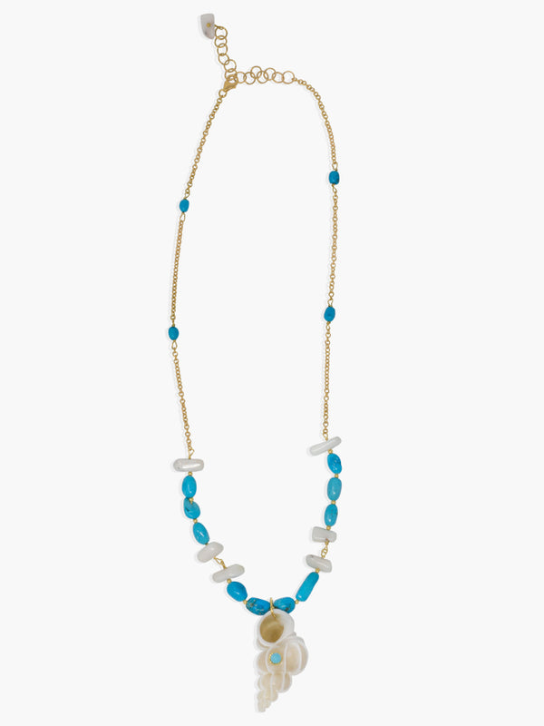 Turquoise & White Coral necklace handmade in Italy by Vintouch Jewels. The necklace measures 18 up to 20 inches and it features turquoise, white coral beads and a Wentletrap shell charm marked with a turquoise bead