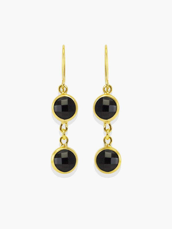 Capri Black Onyx Earrings handmade by Vintouch Jewels, available either in 18k gold plated silver and 14k yellow gold