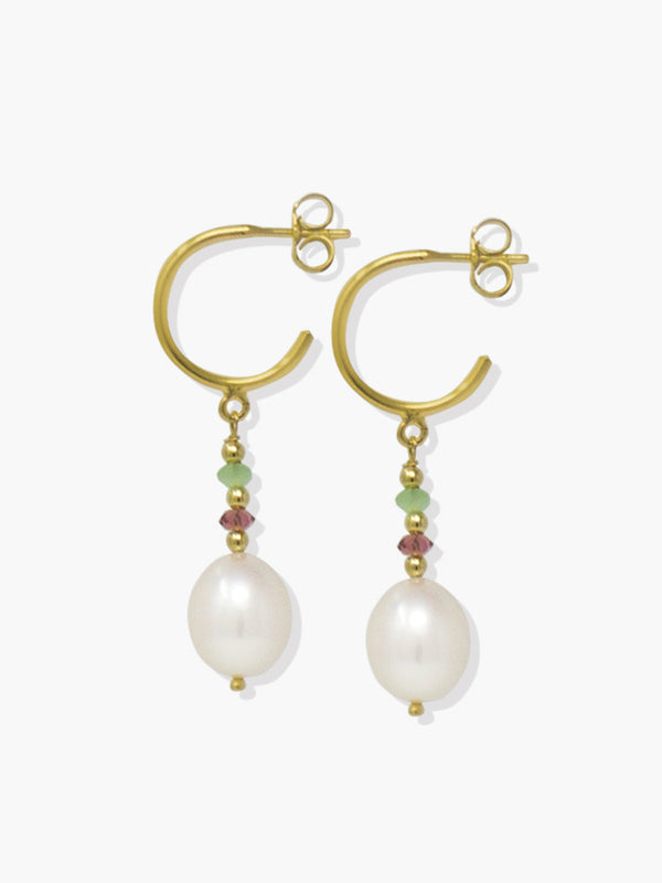 Pearls & Tourmalines small hoop earrings in green and red by Vintouch Jewels