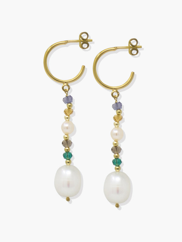 Pearls and Tourmalines hoop earrings by Vintouch Jewels featuring baroque pearls and multicolor green, orange, blue and yellow gemstones.