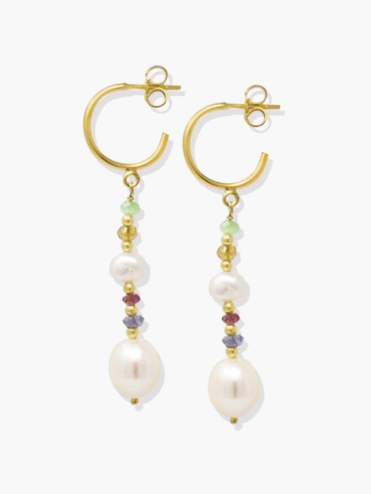 Pearls and Tourmalines hoop earrings by Vintouch Jewels featuring baroque pearls and multicolor blue, red, yellow and light green gemstones.
