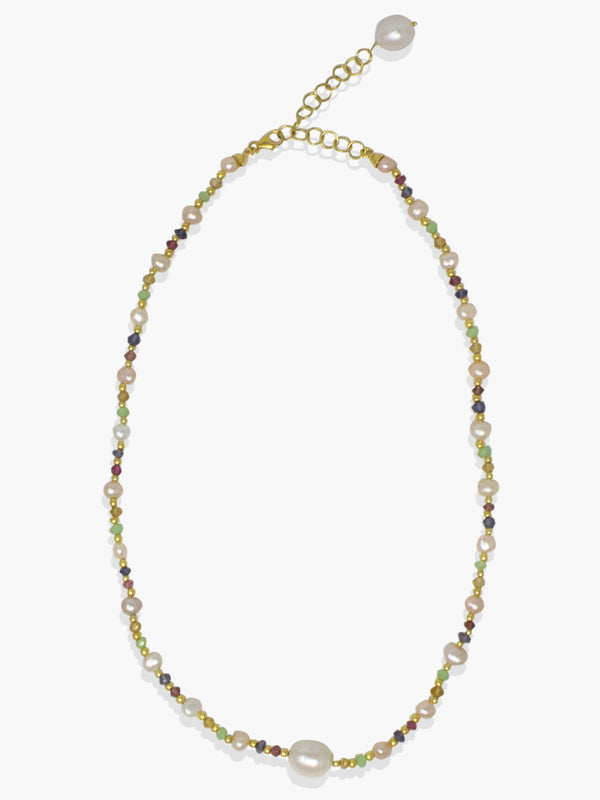 Sparkling Seas Necklace by Vintouch Jewels, featuring pearls, multicolor natural gemstones and tiny 18k gold plated silver beads that will add a bright detail to your summertime outfits.