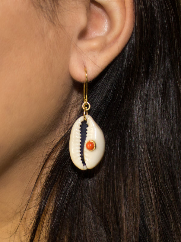Vintouch Coral Cowry Shell Earrings