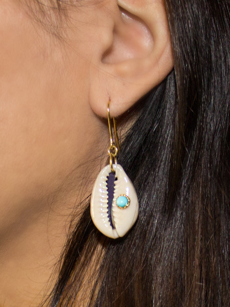 Vintouch Turquoise Cowry Shell Earrings