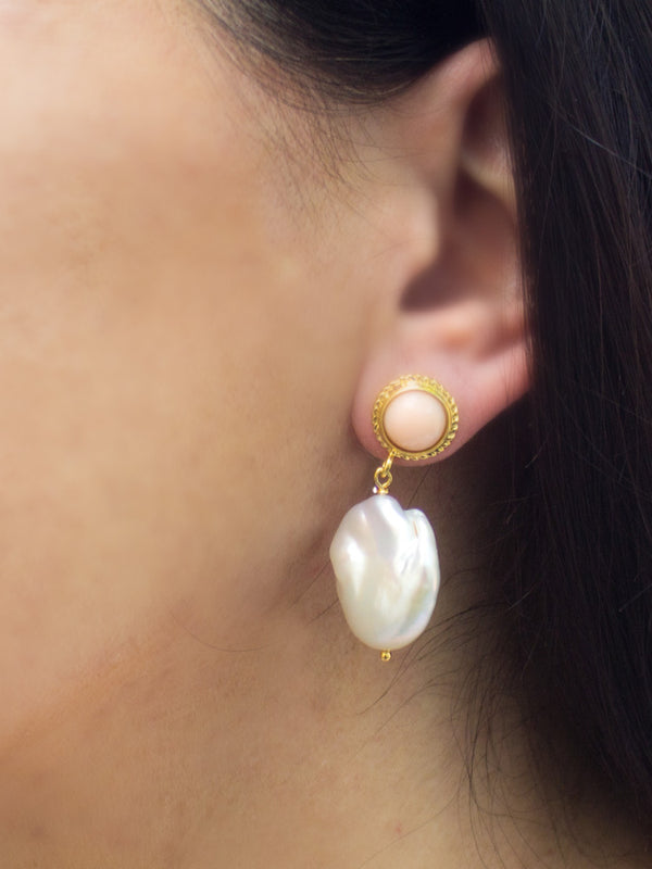 Pink Coral & Keshi Pearls Stud Earrings