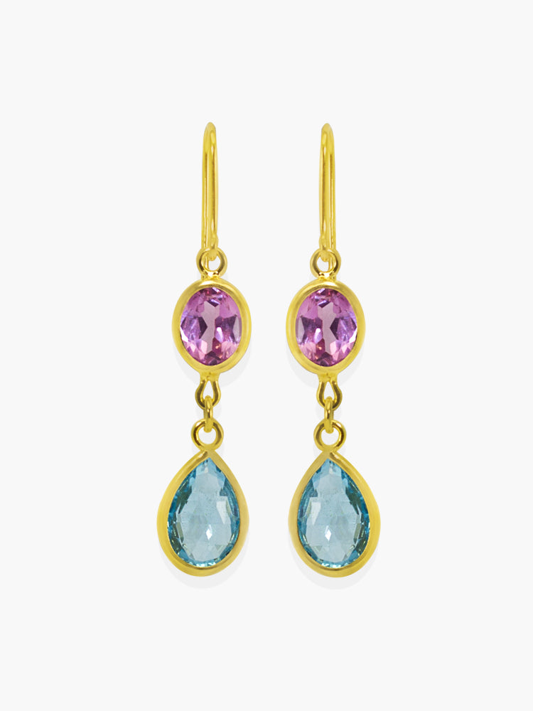 Ravello Multicolor Drop Earrings by Vintouch Jewels handmade with pink agate and sky blue topaz cabochons, available either in 18k gold plated silver or 14k yellow gold.