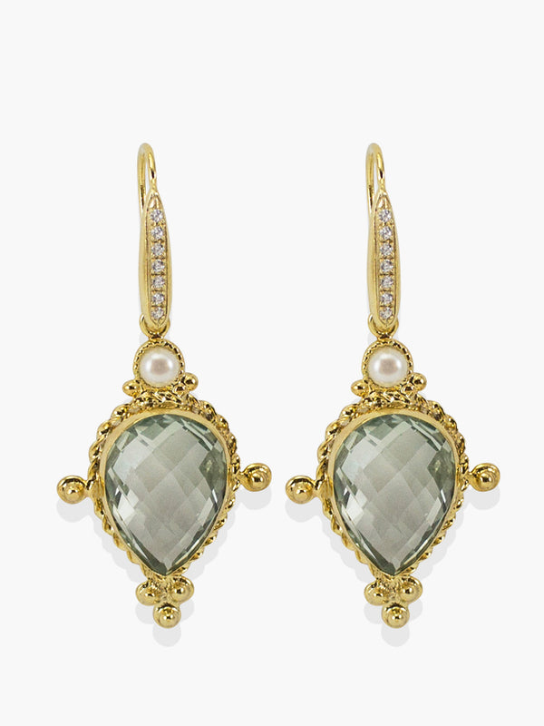 Juno Prasiolite Earrings handmade by Vintouch Jewels with prasiolite gemstones and 18k gold plated silver.