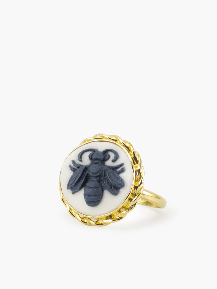 Bee cameo ring set in 18k gold plated silver by Vintouch Jewels