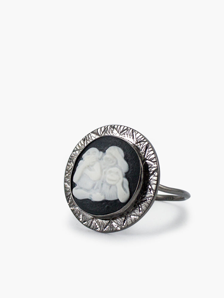 Vintouch Three Wise Monkeys Cameo Ring