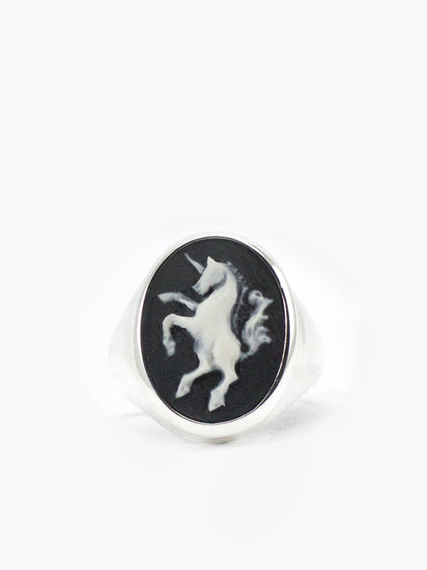 Vintouch Unicorn Cameo Signet Ring