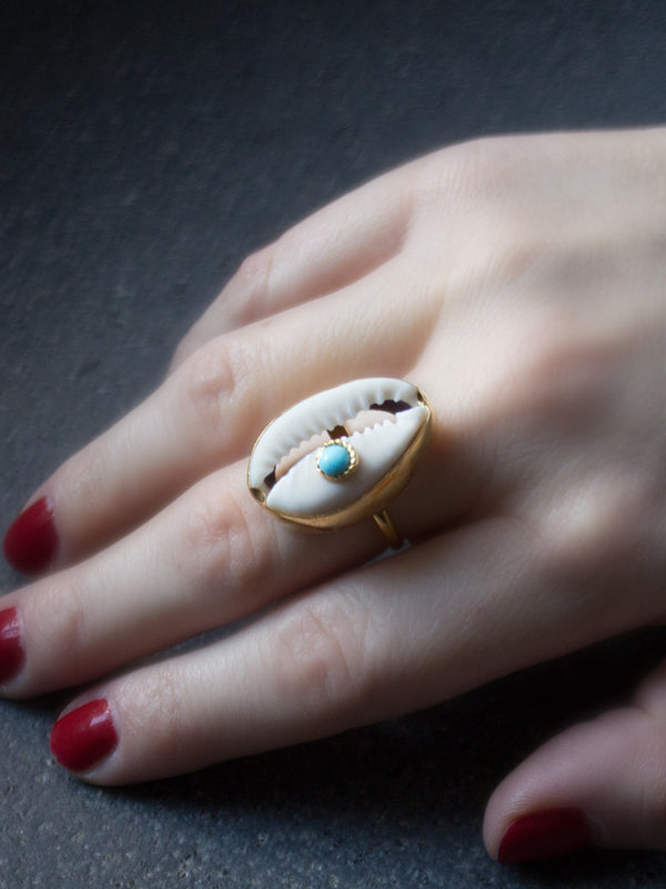Vintouch Turquoise Cowry Shell Ring