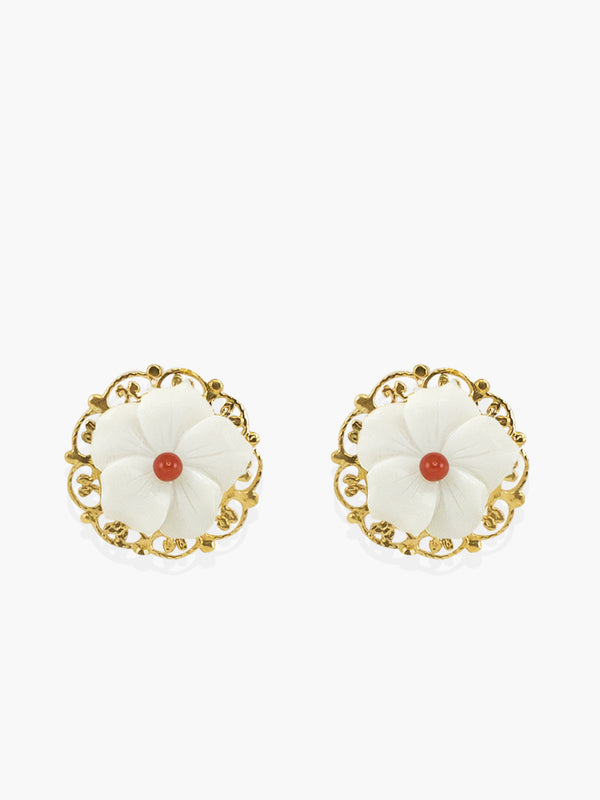 Vintouch Petals Coral Stud Earrings
