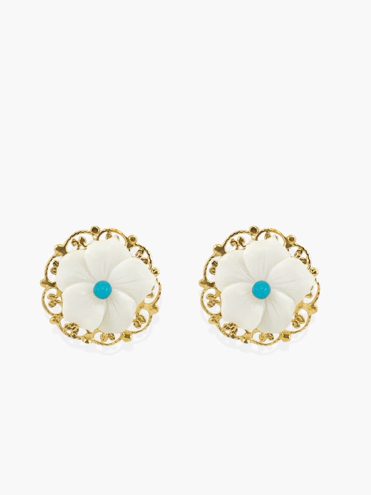 Vintouch Petals Turquoise Stud Earrings