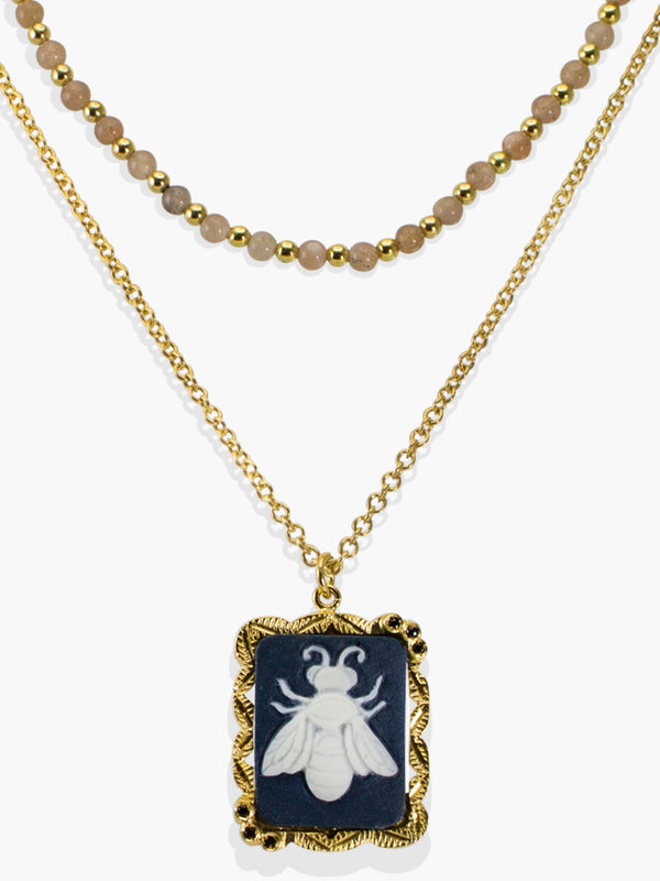 Bee Cameo & Pink Labradorite Layered Necklace | Vintouch Jewels