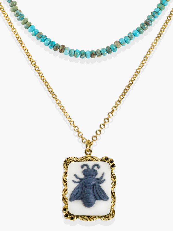 Bee Cameo & Turquoise Necklace set in 18k gold over sterling silver | Vintouch Jewels