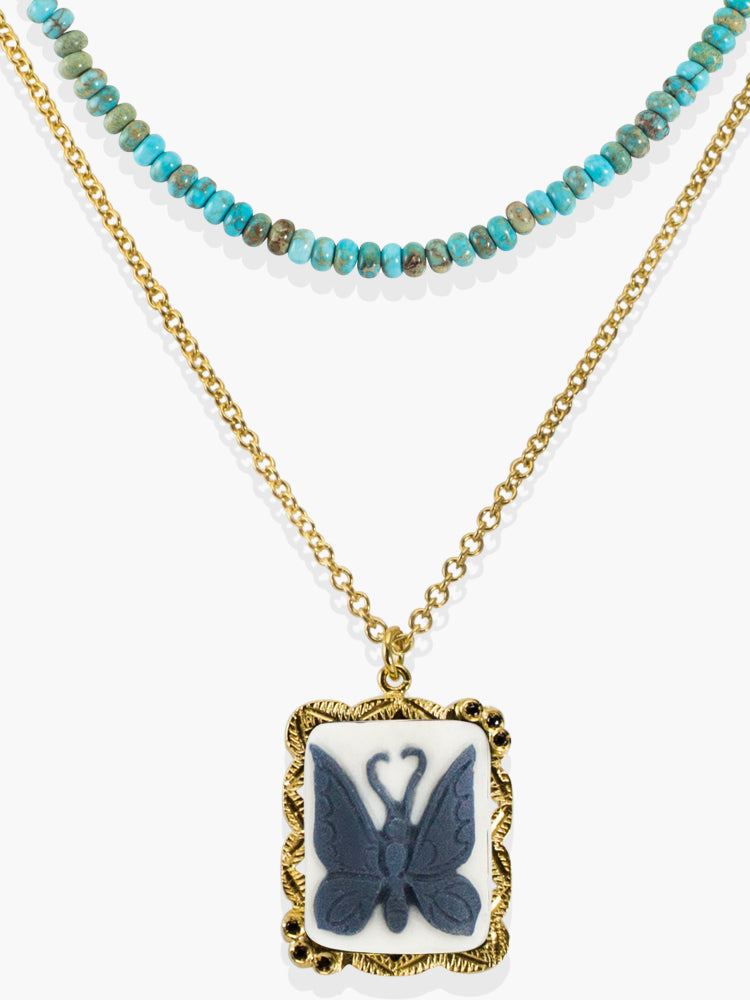 Vintouch Chrysalis Cameo & Turquoise Layered Necklace
