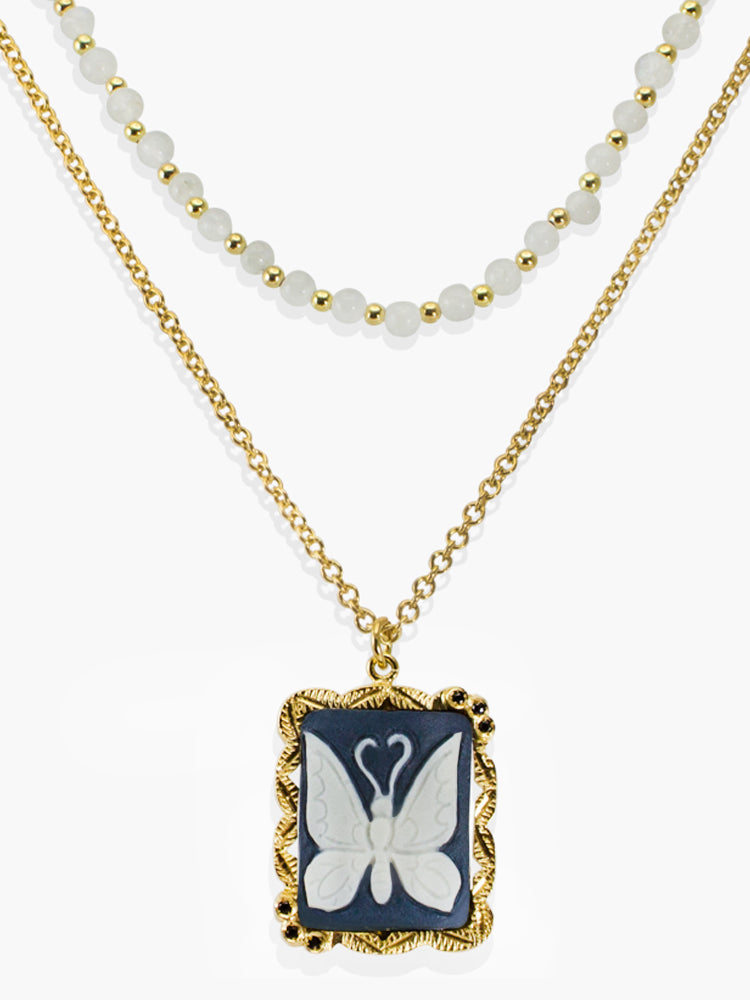 Vintouch Chrysalis Cameo & Moonstone Layered Necklace