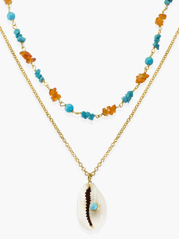 Turquoise & Cowrie Shell Layered Necklace | Vintouch Jewels