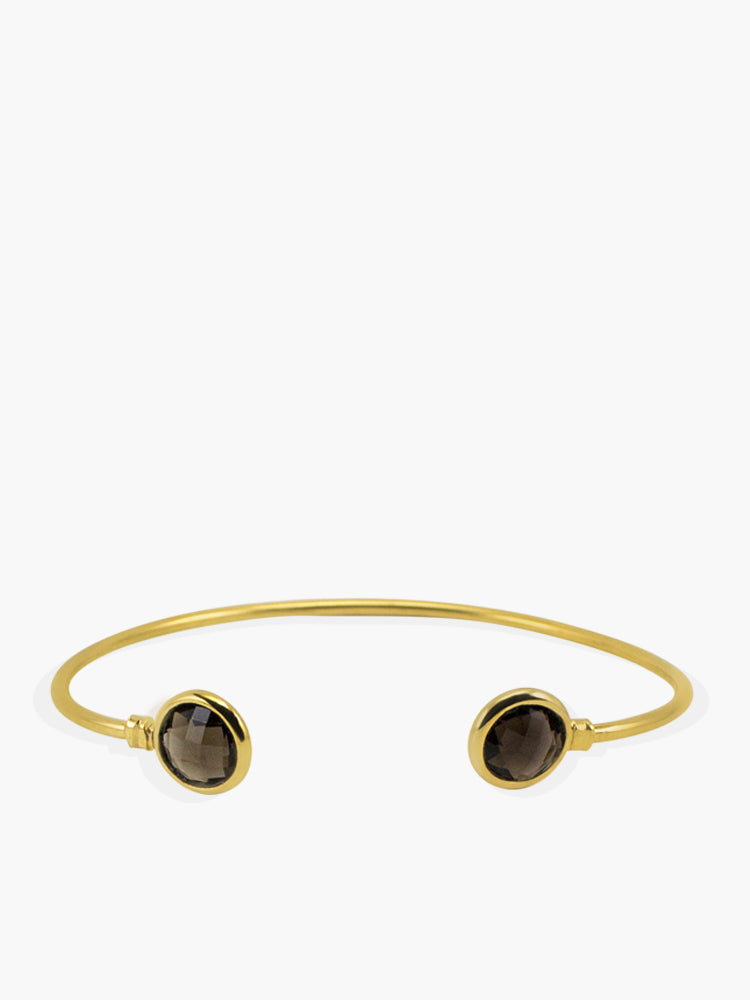 Capri Smoky Quartz Cuff Bracelet handmade by Vintouch Jewels in 18k Gold plated silver