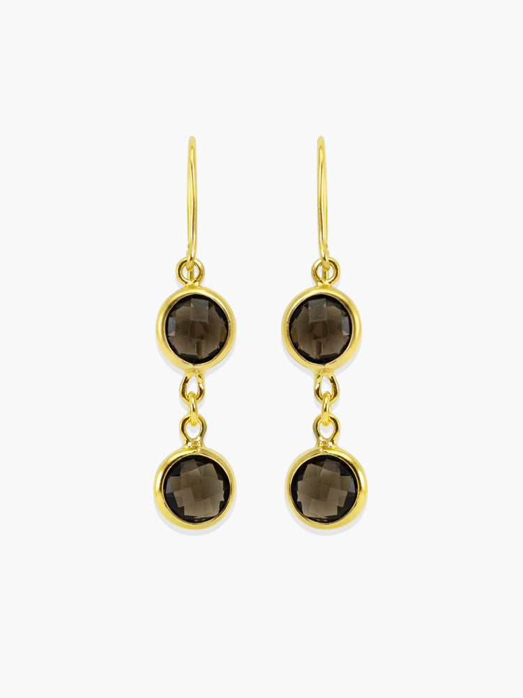 Capri Smoky Quartz earrings handmade by Vintouch Jewels, available either in 14k gold or 18k gold plated silver