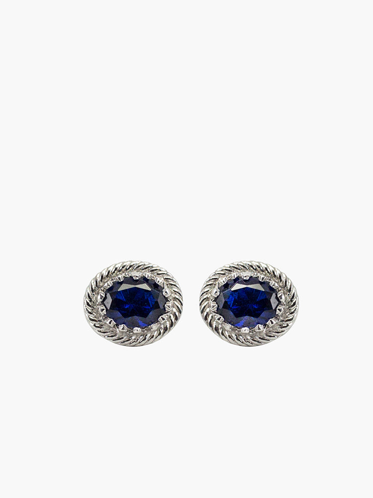 Luccichio Blue Agate Stud Earrings