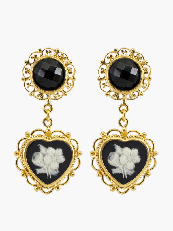 Bouquet Cameo Earrings by Vintouch Jewels, hand-carved from porcelain and set in 18k gold plated silver, pending on black onyx gemstones.