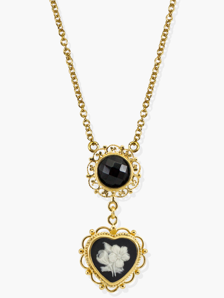 Bouquet Cameo Necklace by Vintouch Jewels, handmade from 18k gold over sterling silver featuring a hand-carved cameo and a black onyx gemstone.