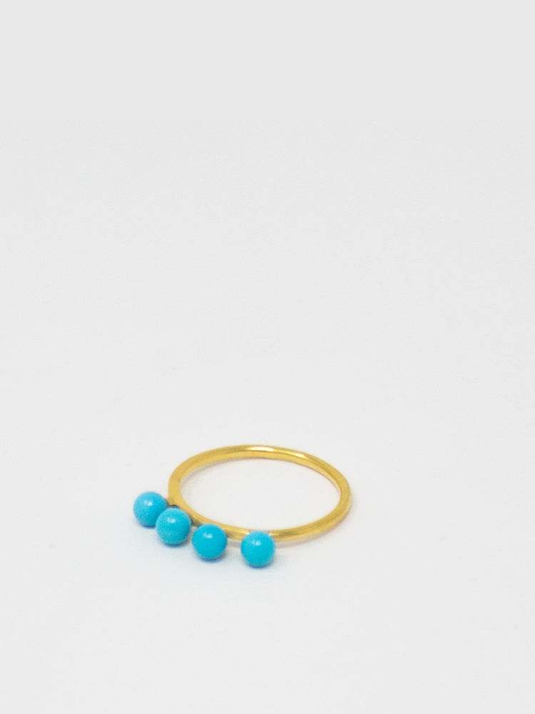 Turquoise Beads Stacking ring, handmade from 18k gold over silver