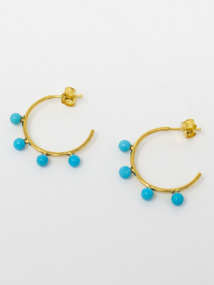 Four Turquoise Beads fixed on 18k gold over silver hoop earrings.
