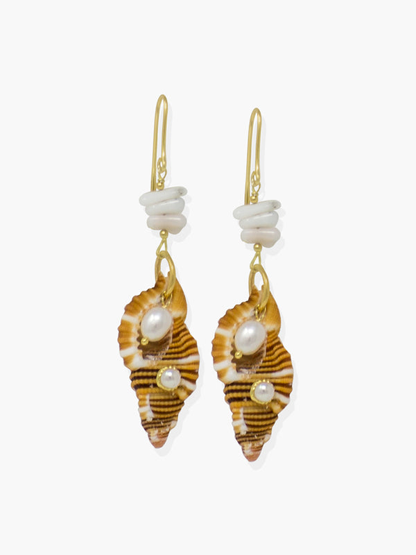 Cast from 18k gold over silver, these stylish earrings are made with white coral splinters and baroque pearls, featuring an orange Triton shell enriched with pearls or turquoise.